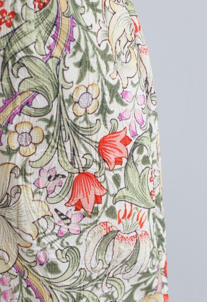 Tulip Print Embossed Bud Skirt in Yellow