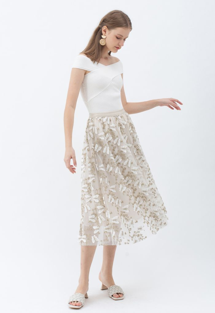 3D Butterfly Embroidered Double Layered Tulle Skirt in Cream