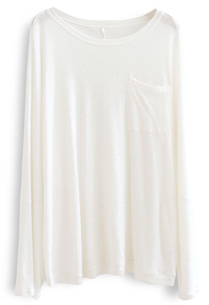 Long Sleeve Oversize T-Shirt in White