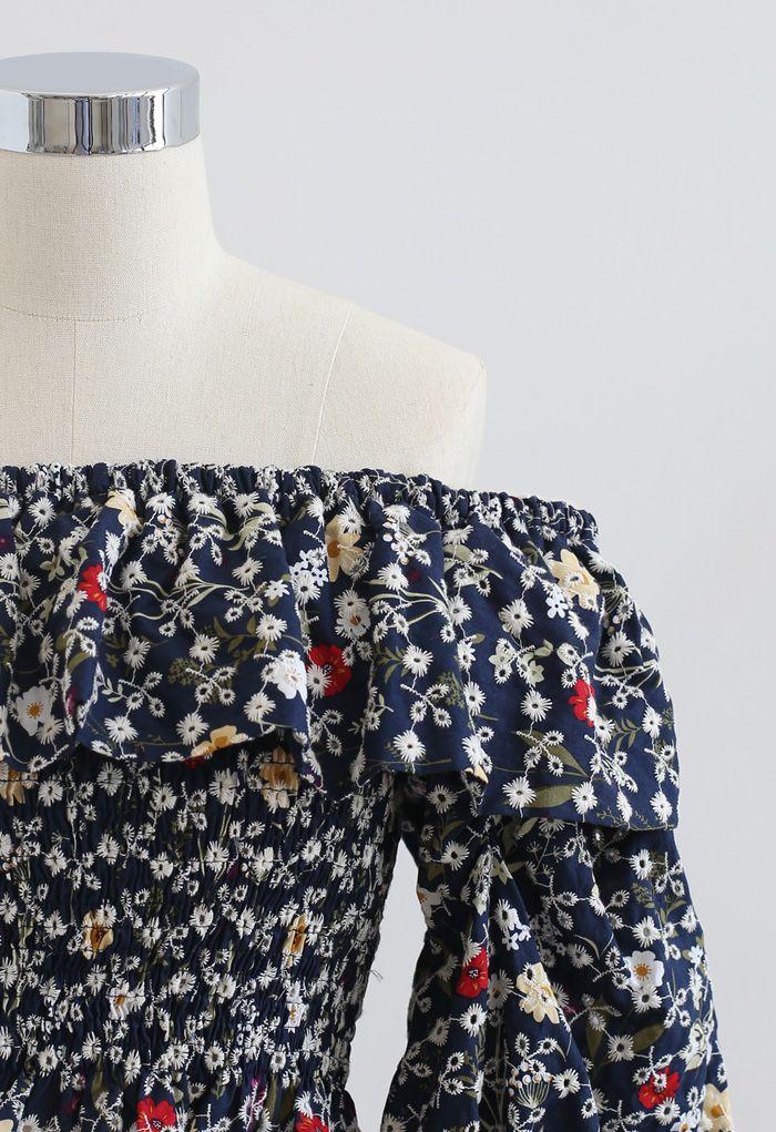 Floral Off-Shoulder Eyelet Shirred Crop Top in Navy