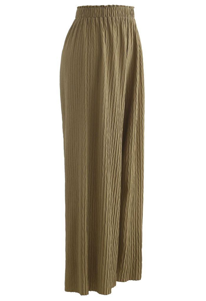Zigzag Embossed Wide-Leg Pants in Moss Green