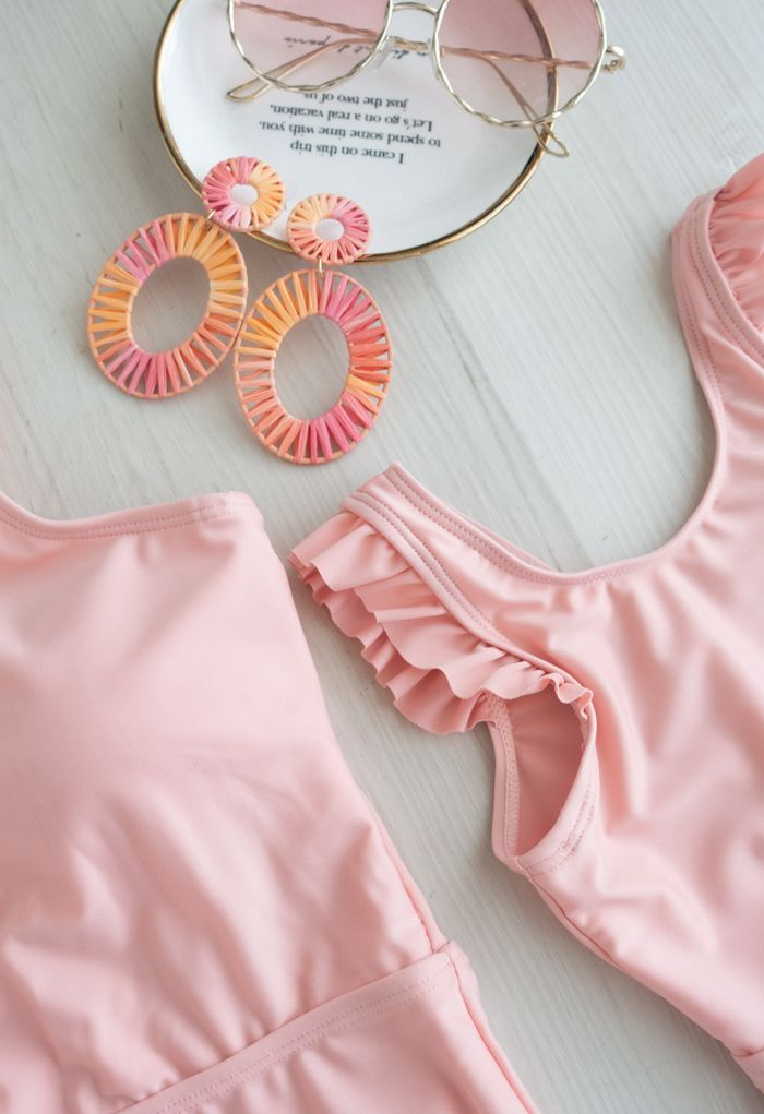 Solid Pink Ruffle Detail Swimsuit for Mommy & Kids