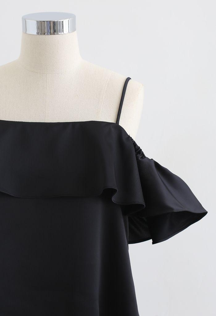 Bowknot Back Cold-Shoulder Flap Cami Top in Black