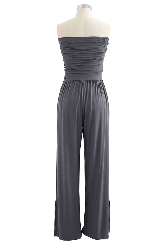 Ruched Front Soft Touch Slit Jumpsuit in Smoke