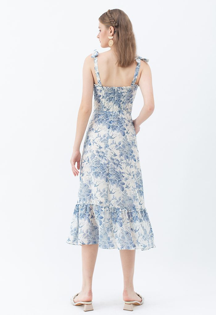 Swallow and Rose Printed Tie-Strap Midi Dress