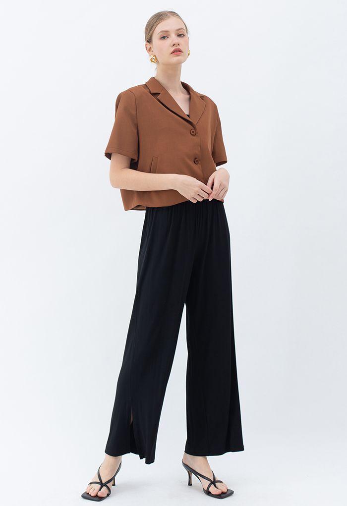 Short Sleeve Padded Shoulder Crop Blazer in Caramel
