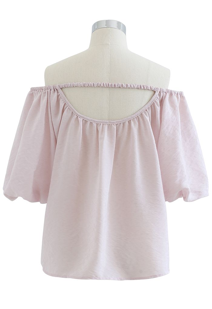 Pastel Color Bubble Sleeves Off-Shoulder Top in Light Pink