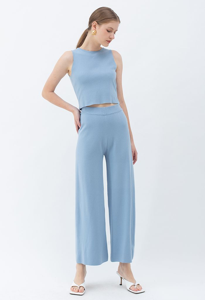 Bowknot Wrap Back Sleeveless Crop Knit Top in Blue