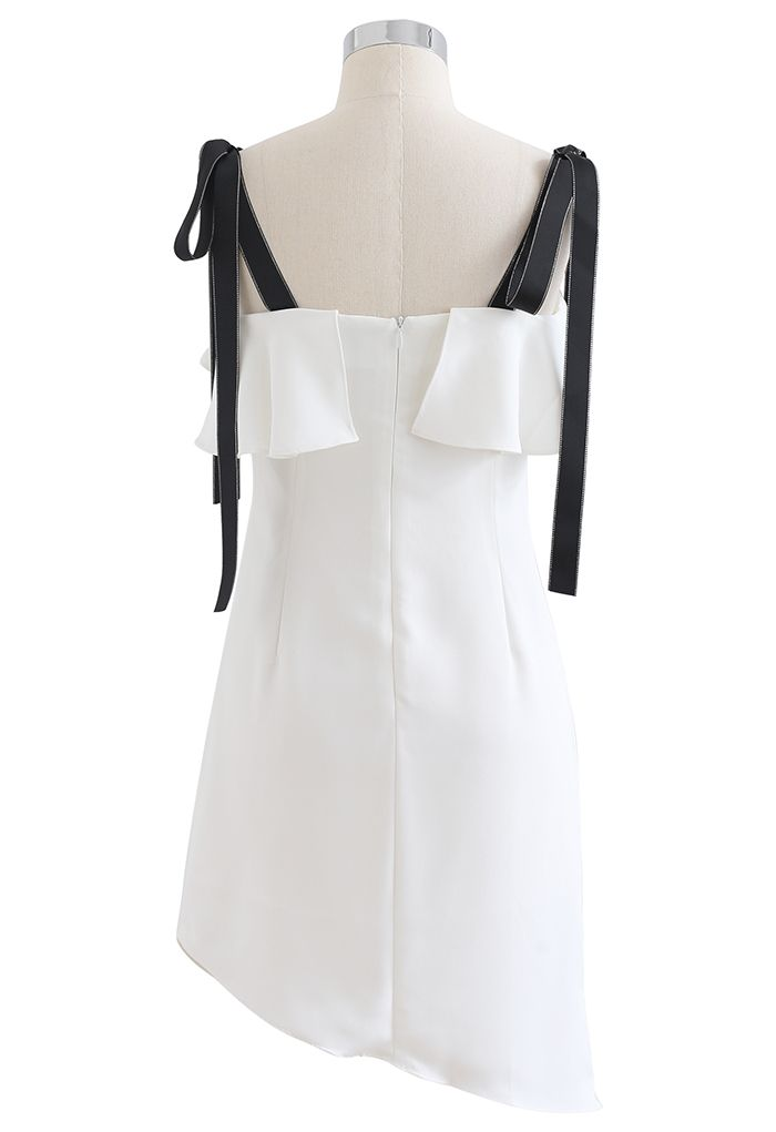 Tie Shoulder Frilling Ruched Mini Dress in White