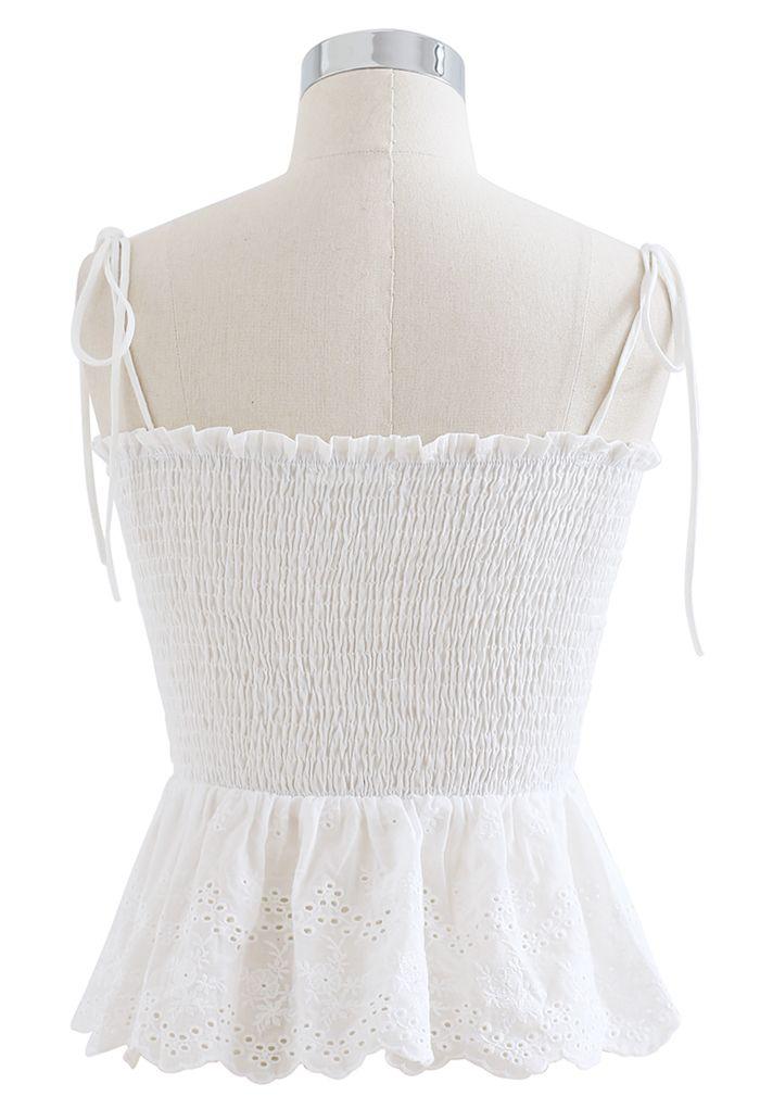 Self-Tie Shoulder Shirred Crop Top in White