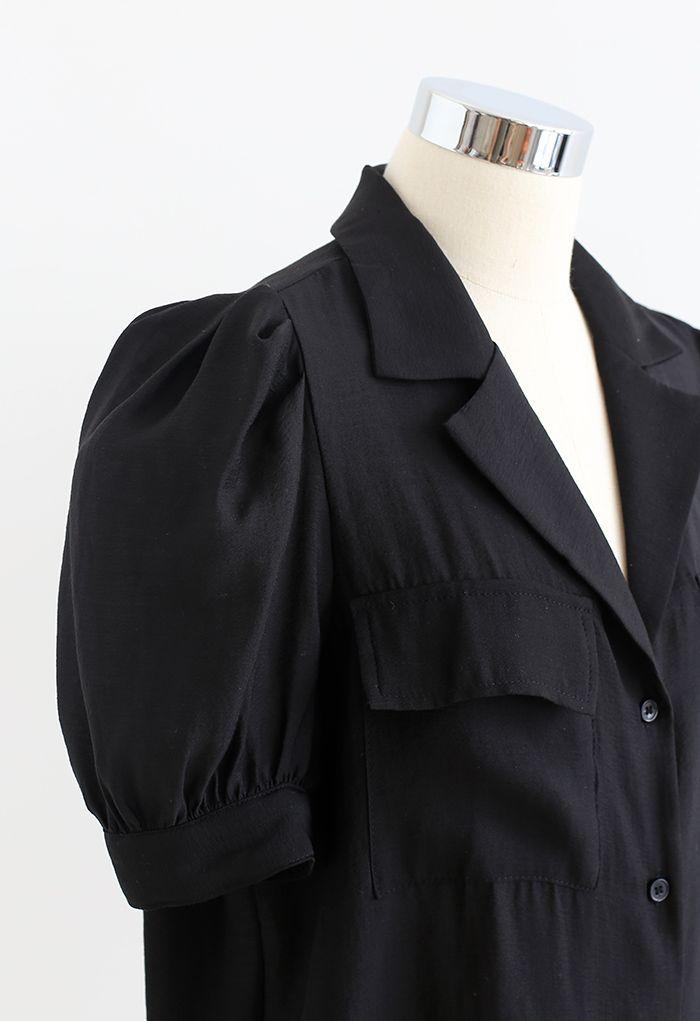 Notch Collar Flap Pocket Buttoned Shirt in Black