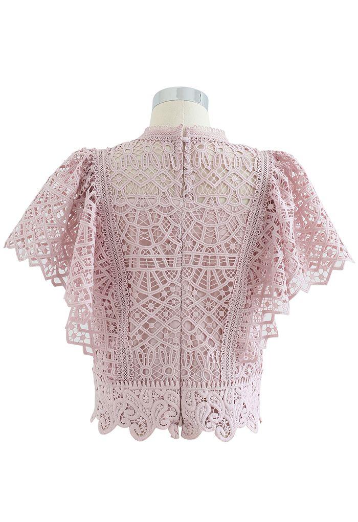 Ruffle Sleeves Full Crochet Crop Top in Dusty Pink