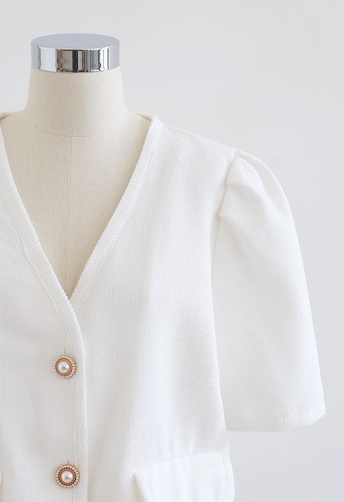 Pearly Button Short Sleeve Tweed Blazer in White