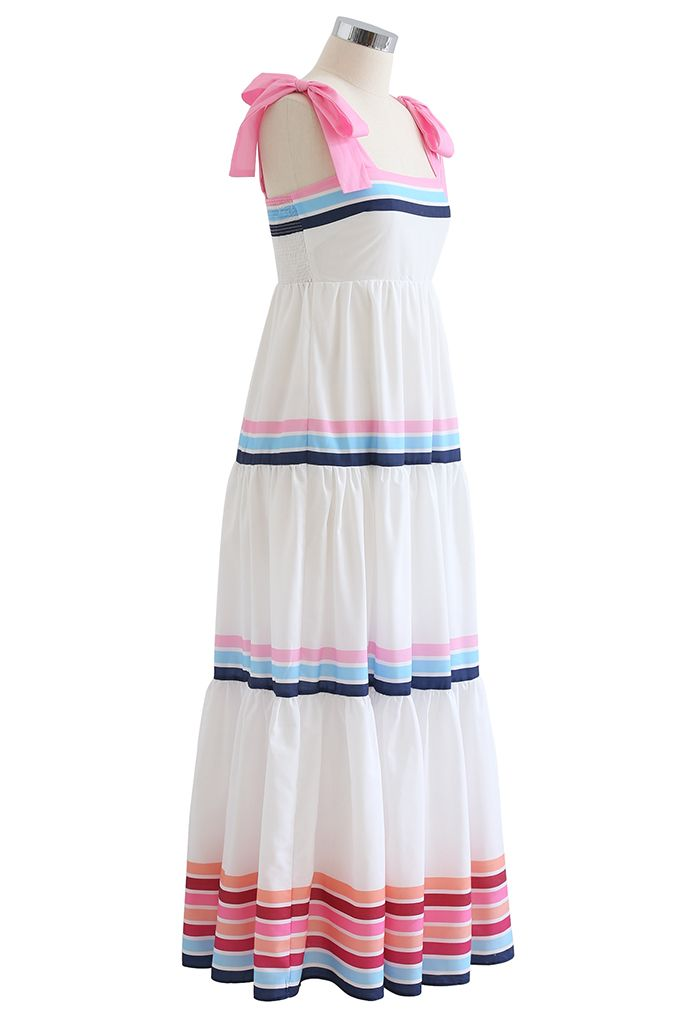 Multi Color Stripe Printed Tie-Strap Maxi Dress