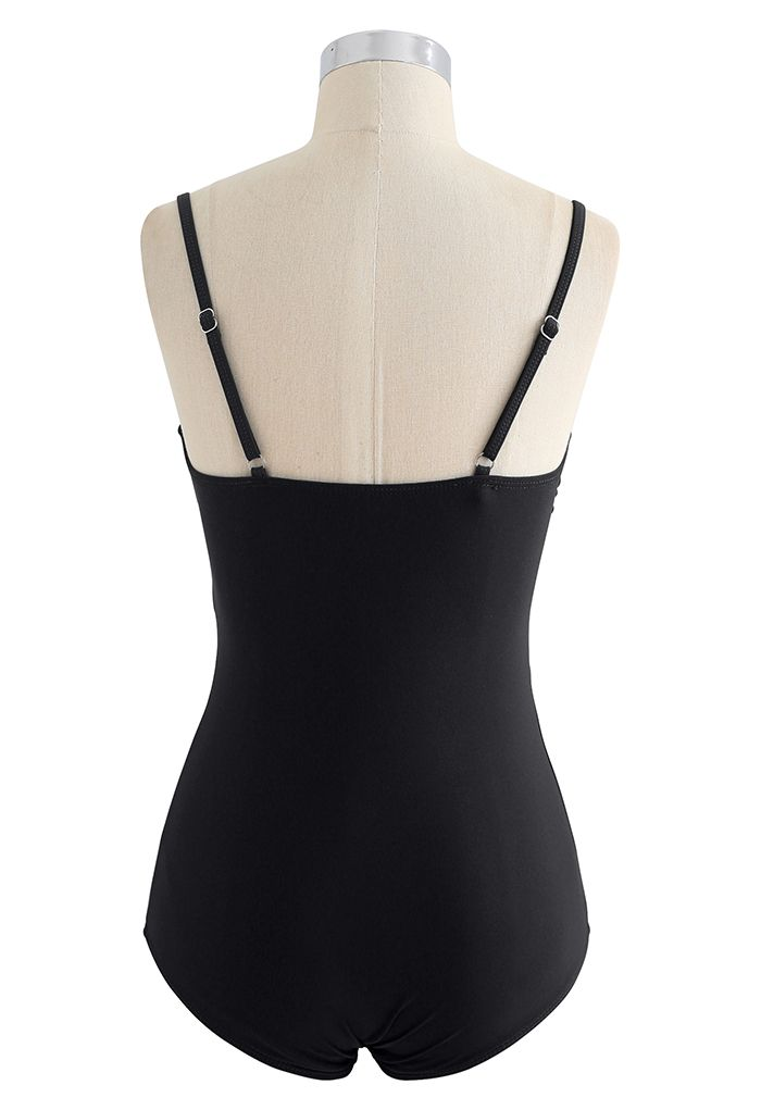 Cross Front Cami Swimsuit in Black