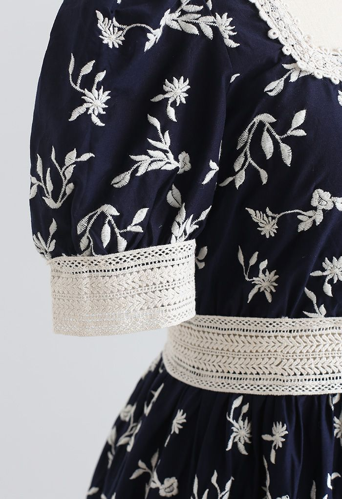 Cutie Daisy Embroidered Square Neck Mini Dress in Navy