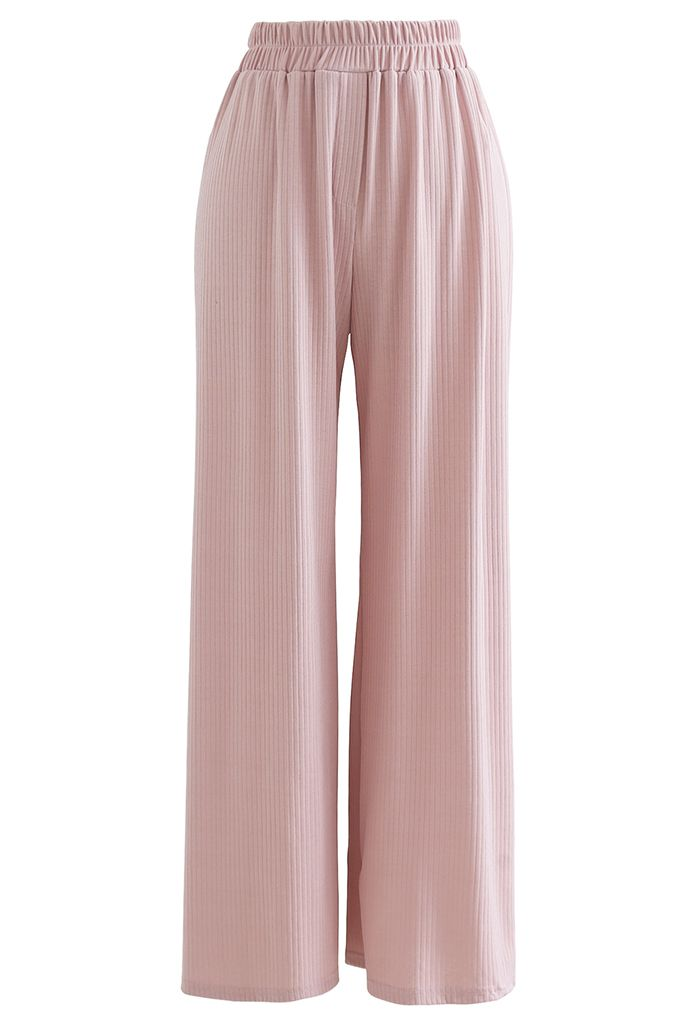 Cozy Straight Leg Knit Pants in Pink