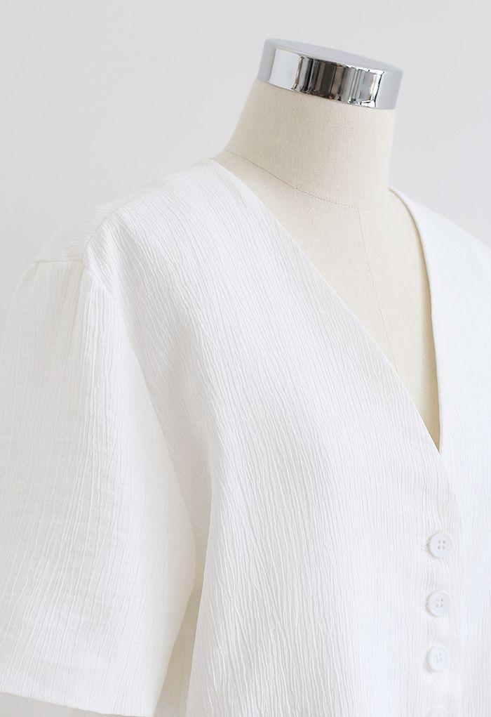 Buttoned Front Short Sleeve Crop Blazer in White