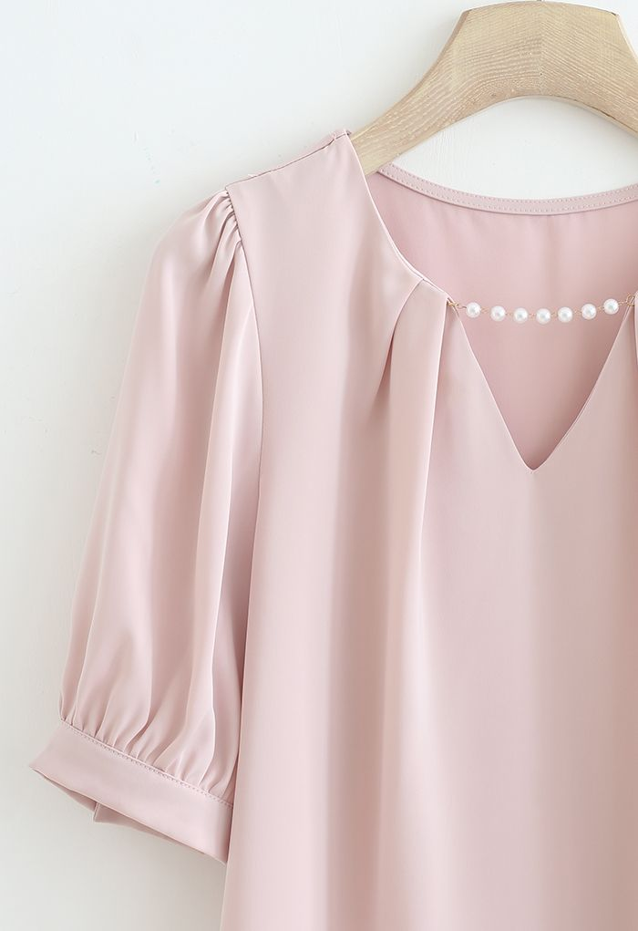Pearly Neck Satin Shirt in Pink