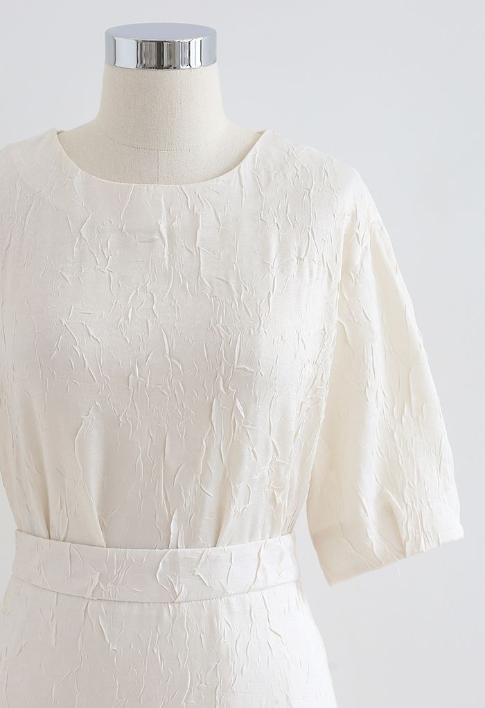 Full of Pleat Short Sleeve Top and Flare Skirt Set in Cream