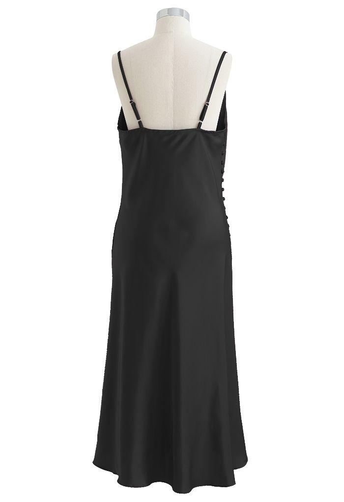 Buttoned Side Split Hem Satin Cami Dress in Black