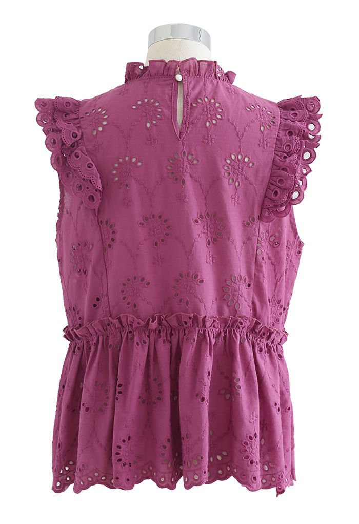 Eyelet Embroidered Flared Sleeveless Top in Plum