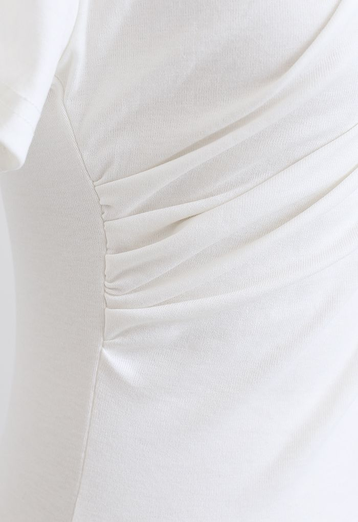 Ruched Front T-Shirt in White