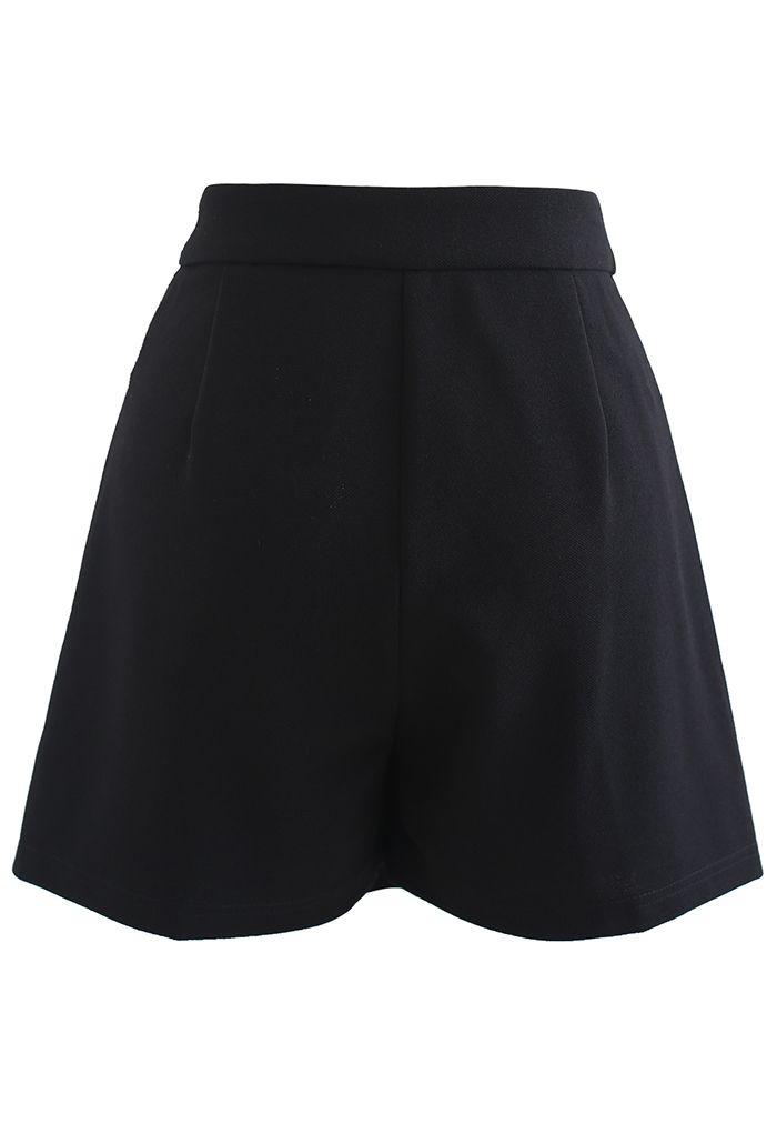 Flap Asymmetric Mini Skorts in Black