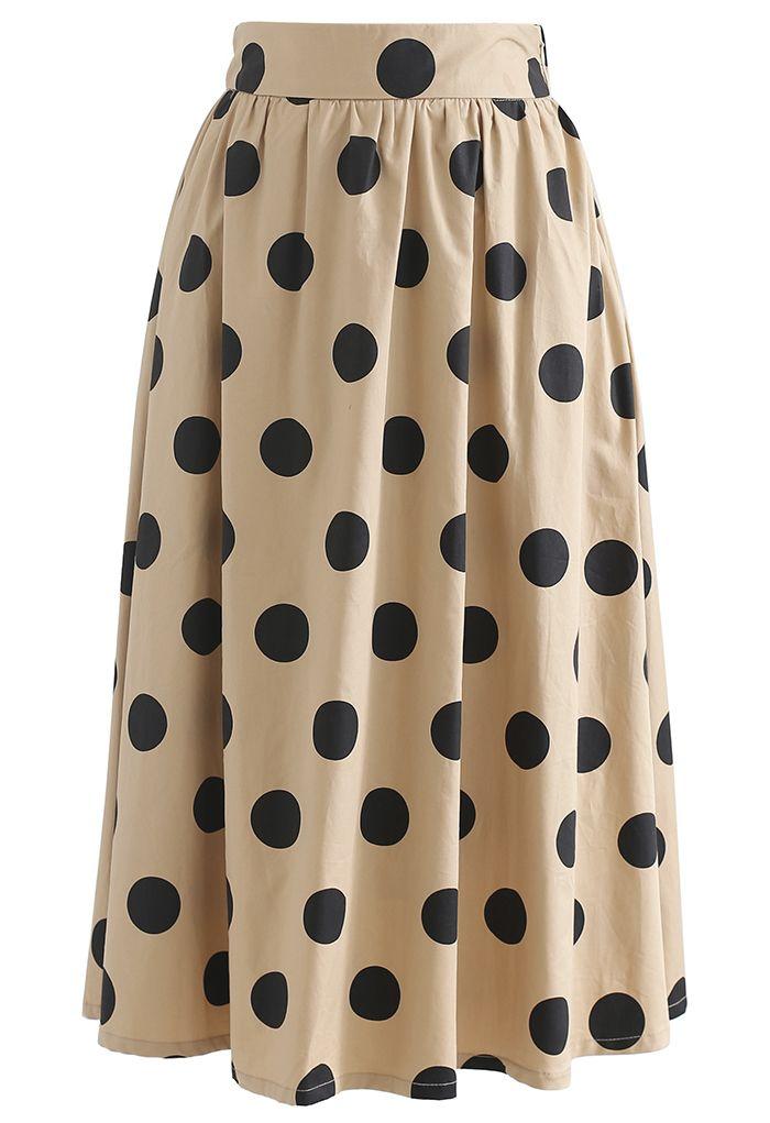 Polka Dot Print A-Line Midi Skirt in Tan