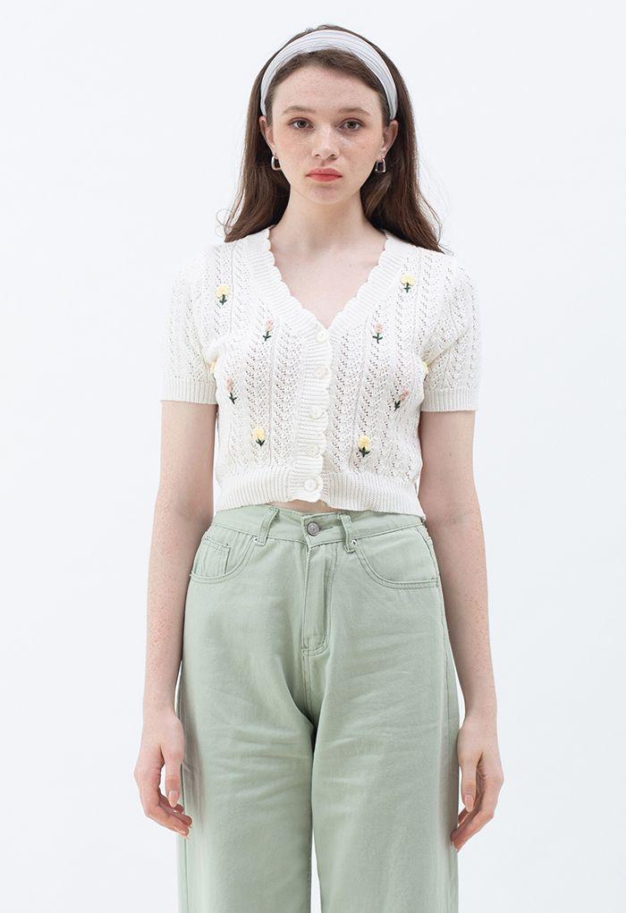 Floweret Button Front Eyelet Crop Cardigan in White