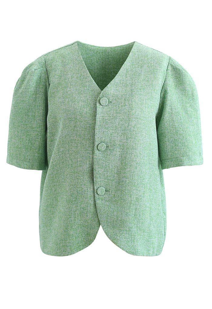 Collarless Button Down Textured Blazer in Green