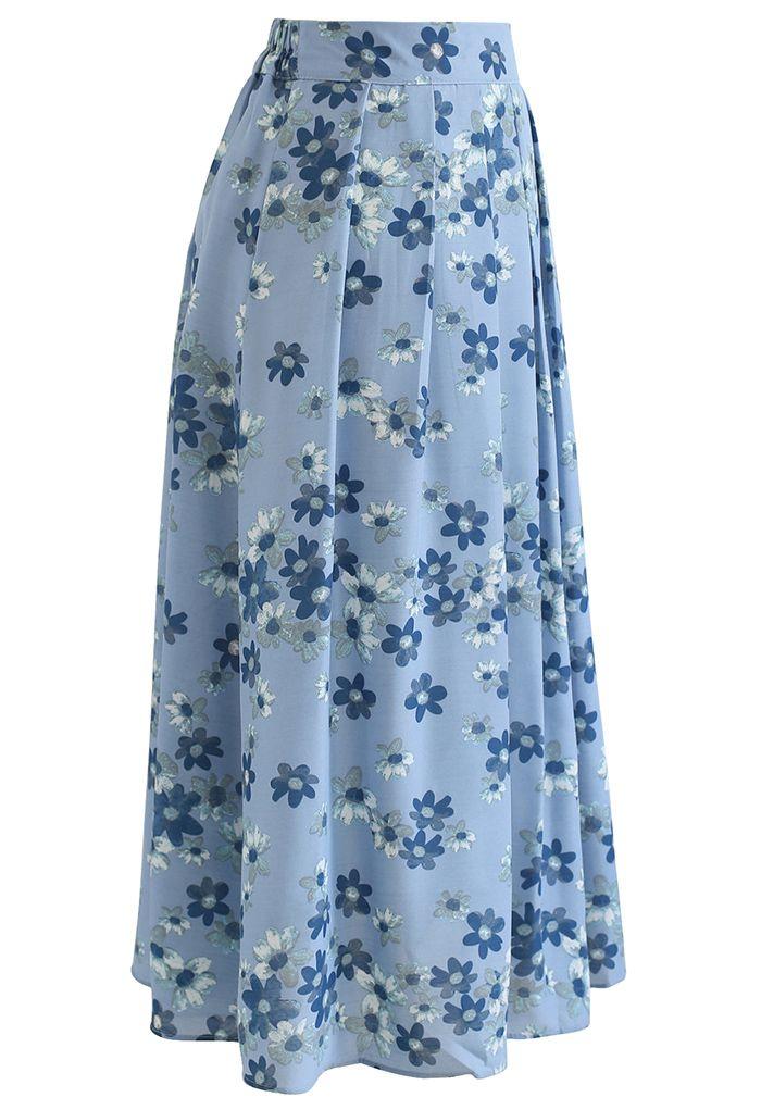 Falling Flowers Pleated Midi Skirt in Wash Blue