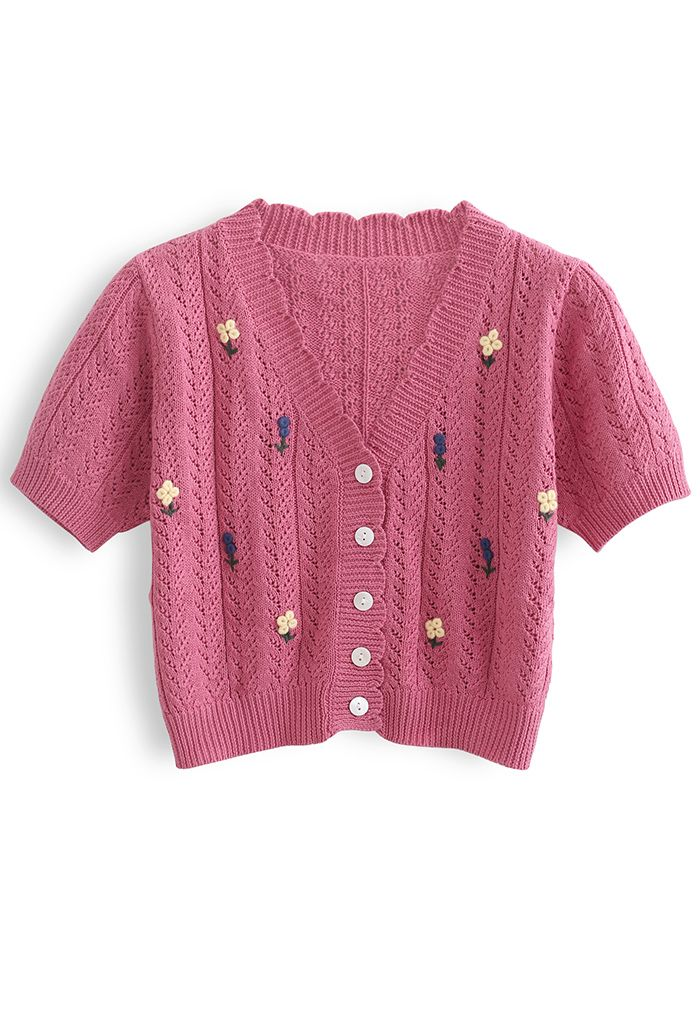 Floweret Button Front Eyelet Crop Cardigan in Rouge Pink