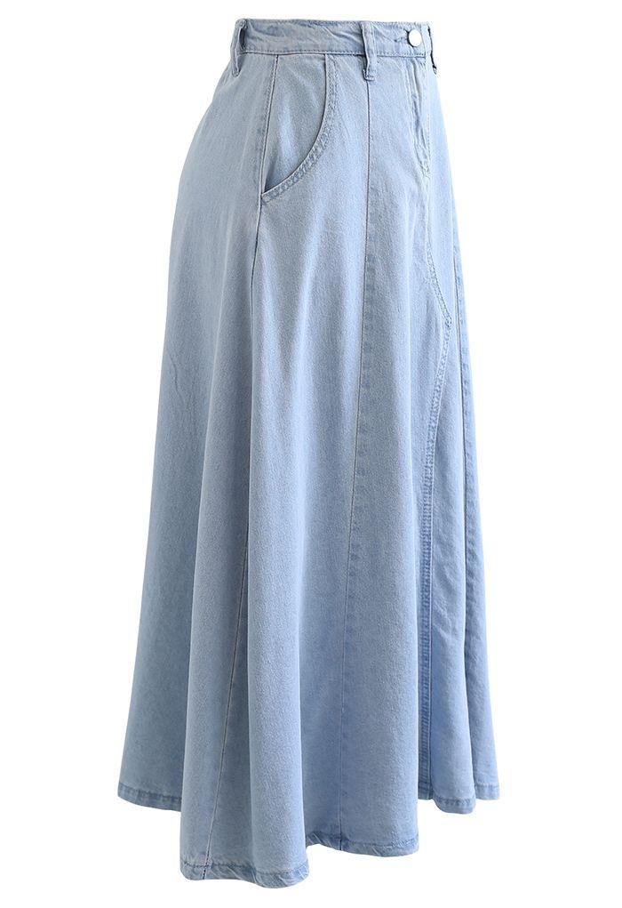 Side Pocket A-Line Denim Midi Skirt in Light Blue