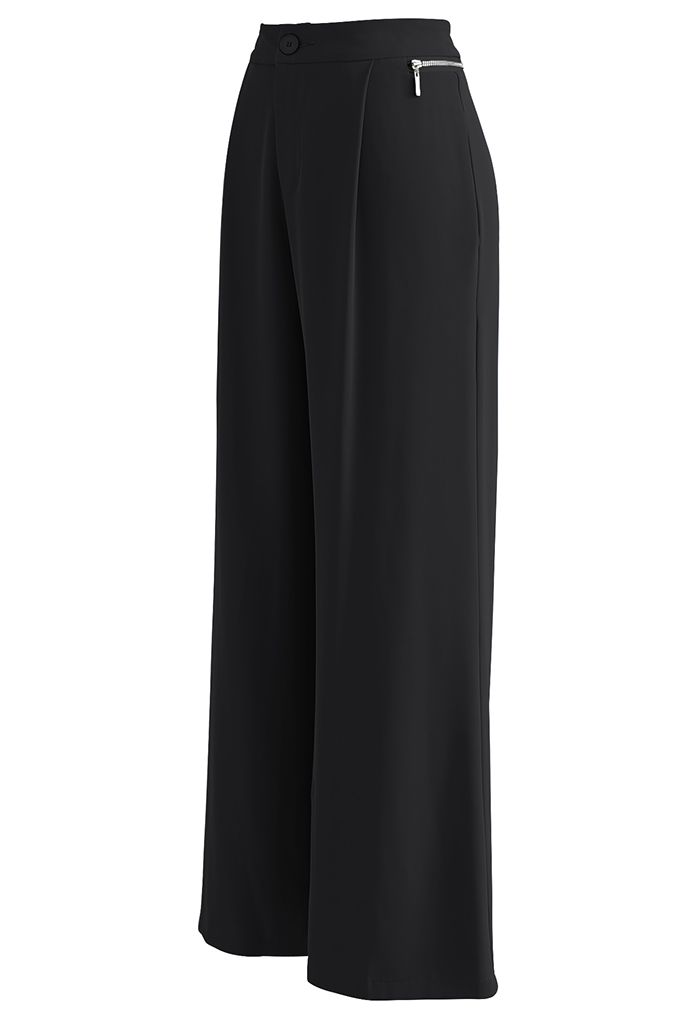 Zipper Side High Waist Flare Leg Pants in Black