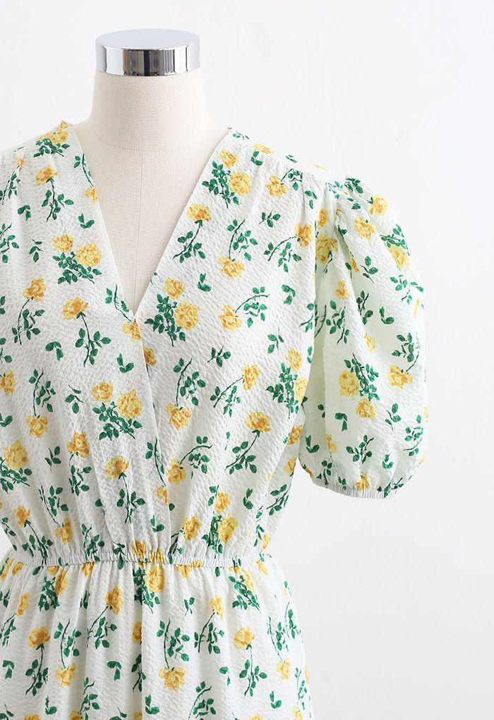 Yellow Posy Embossed Wrap Midi Dress