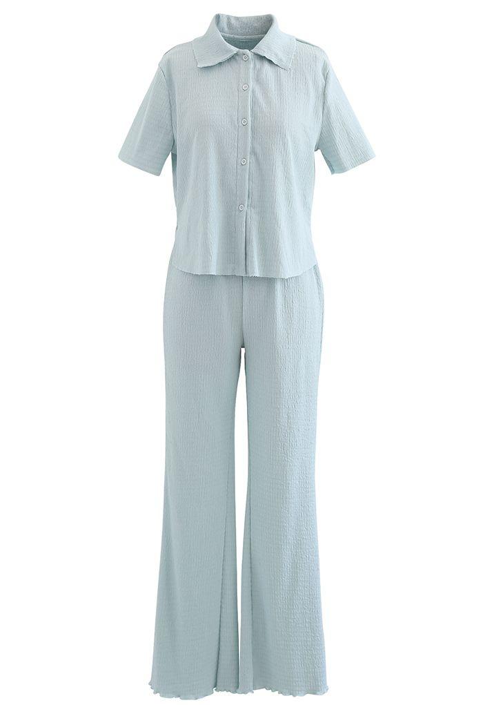 Embossed Raw-Cut Shirt and Lettuce Hem Pants Set in Light Blue