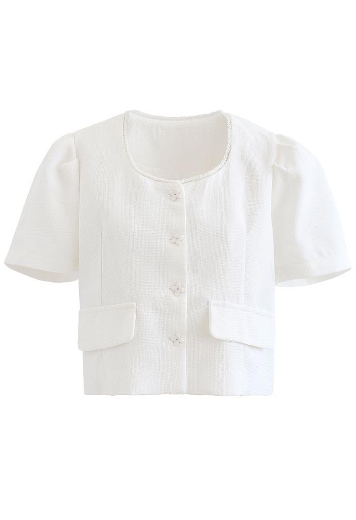 Fake Pocket Buttoned Textured Crop Blazer in White