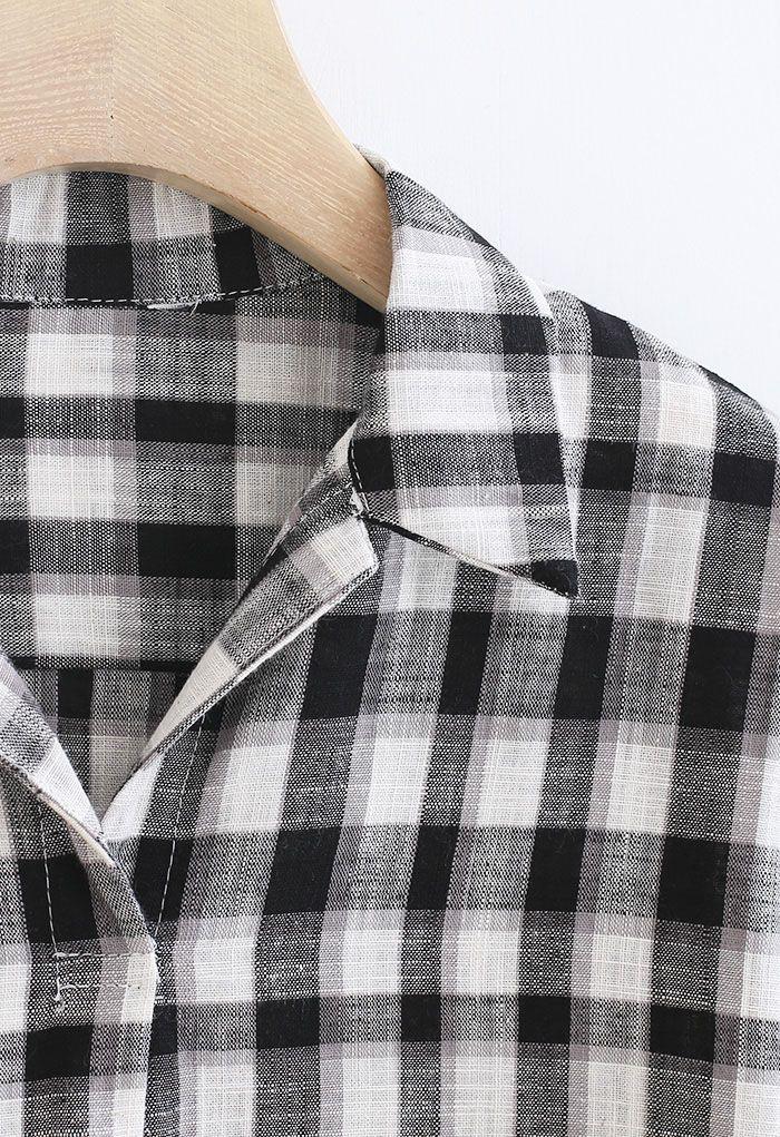 Check Print Short Sleeve Hi-Lo Shirt