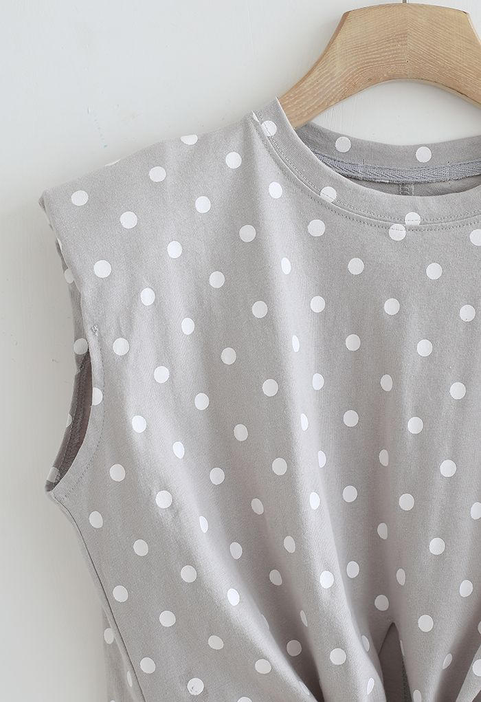 Knot Front Pad Shoulder Dotted Top in Grey