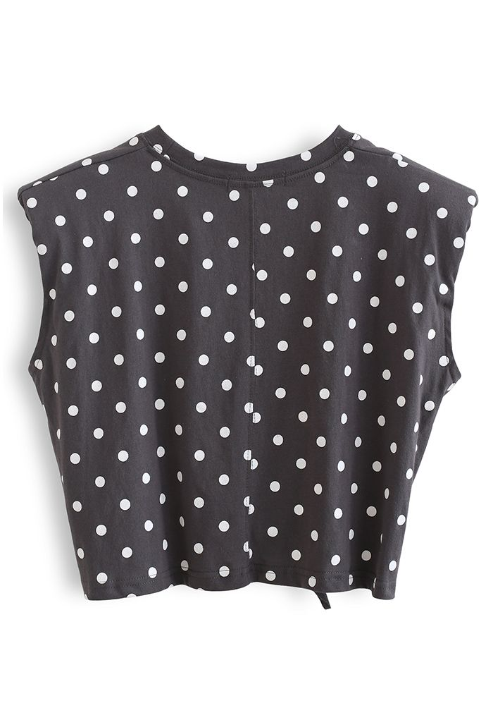 Knot Front Pad Shoulder Dotted Top in Smoke
