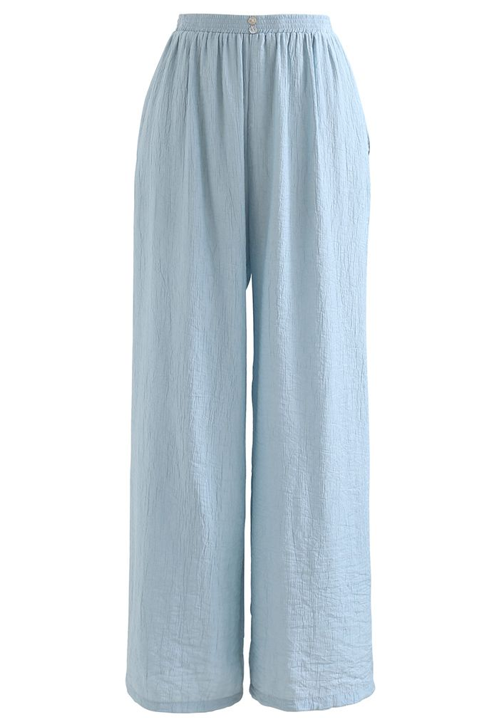 Braided Straps Tank Top and Straight Leg Pants Set in Light Blue