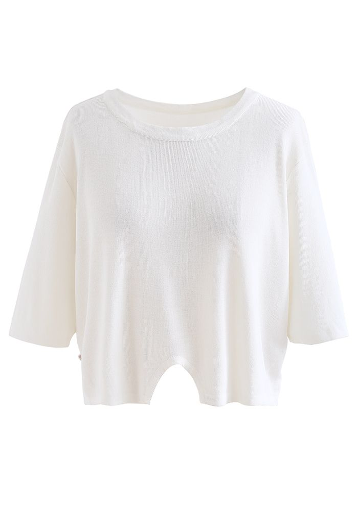 Round Neck Rib Knit Cropped Top in White