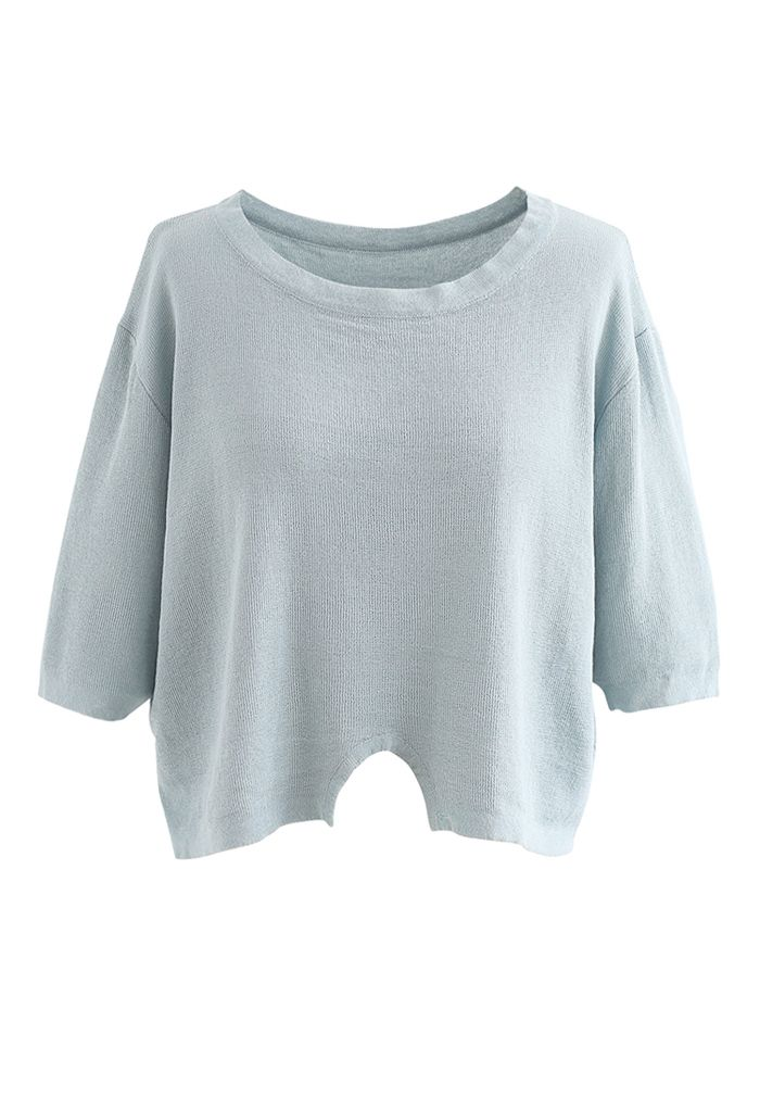 Round Neck Rib Knit Cropped Top in Light Blue