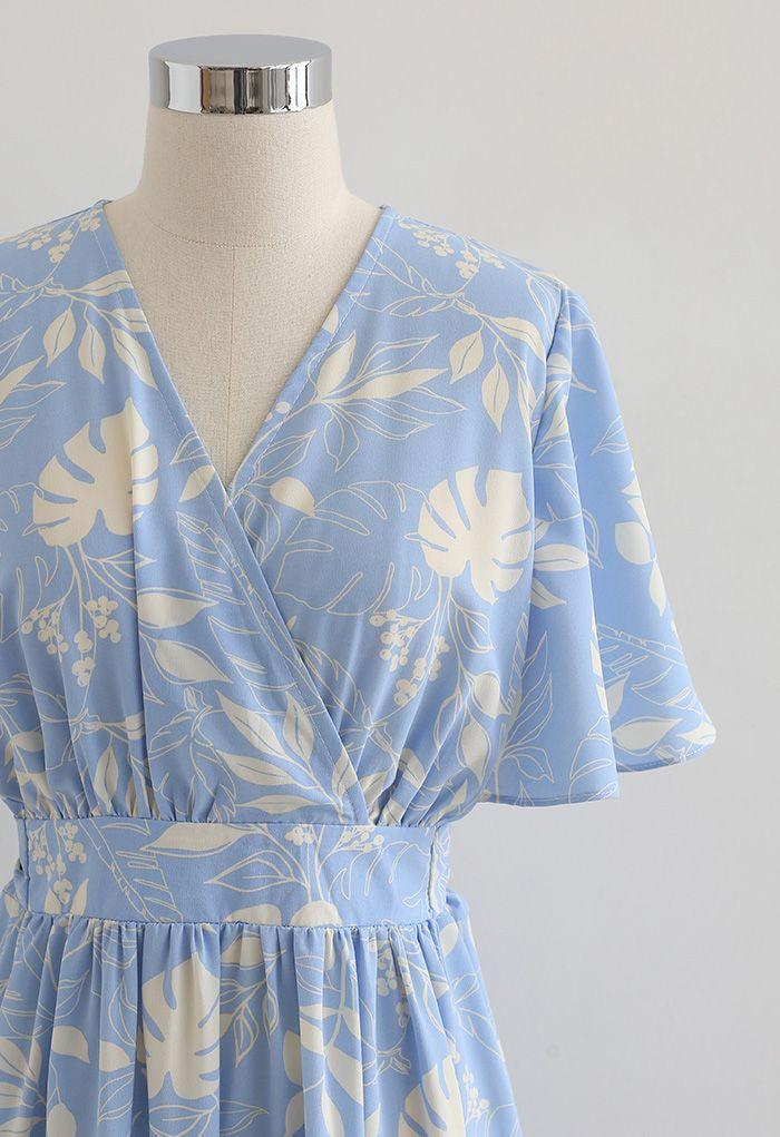 Botanical Garden Wrap Tied Midi Dress in Blue