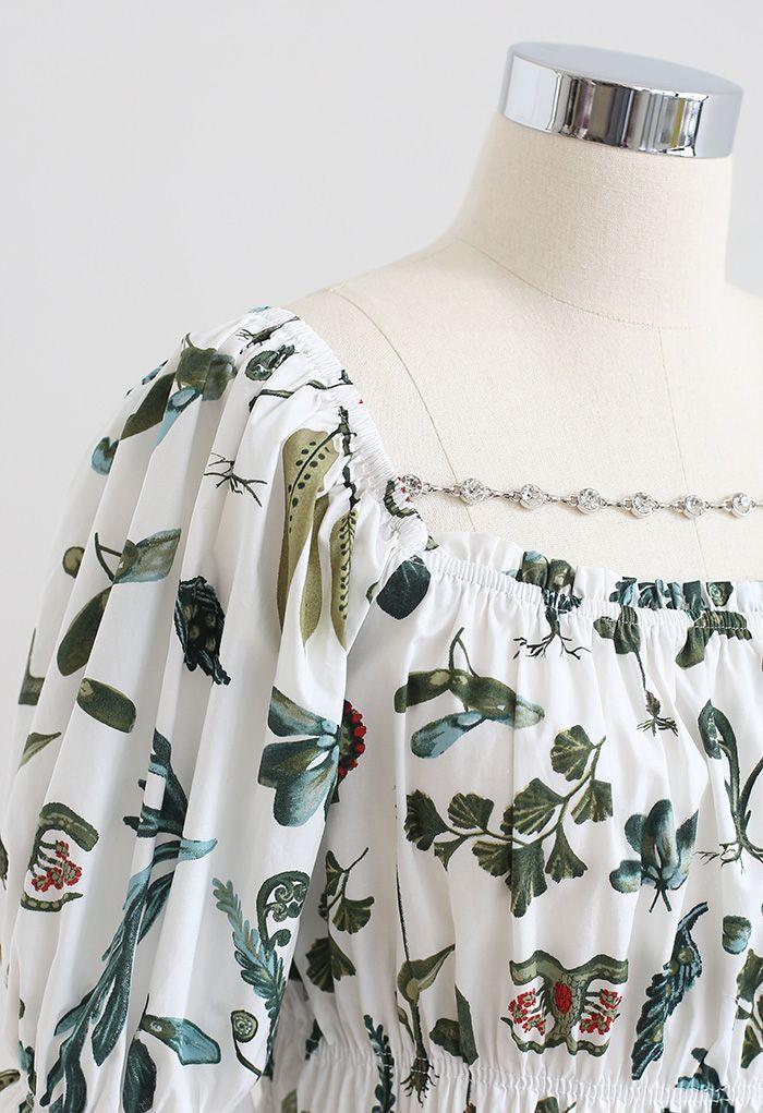 Botanic Print Chain Trim Crop Top in White