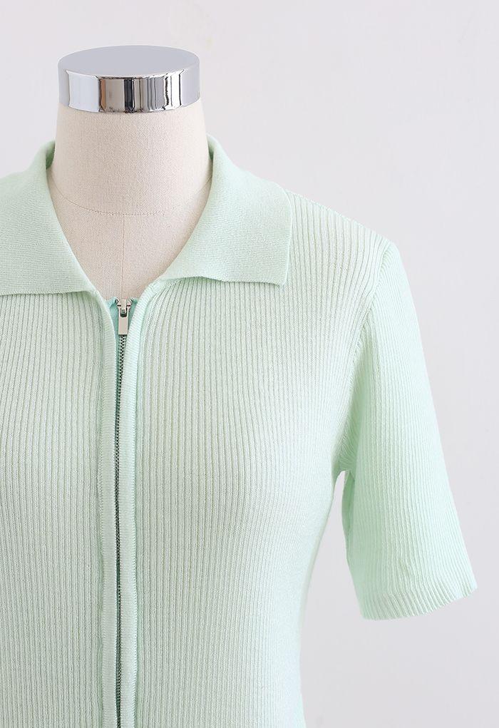 Double Zippers Short Sleeve Rib Knit Cardigan in Light Green