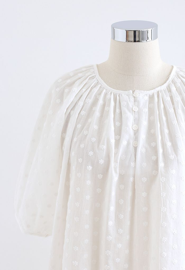 Embroidered Floret Cotton Top in White
