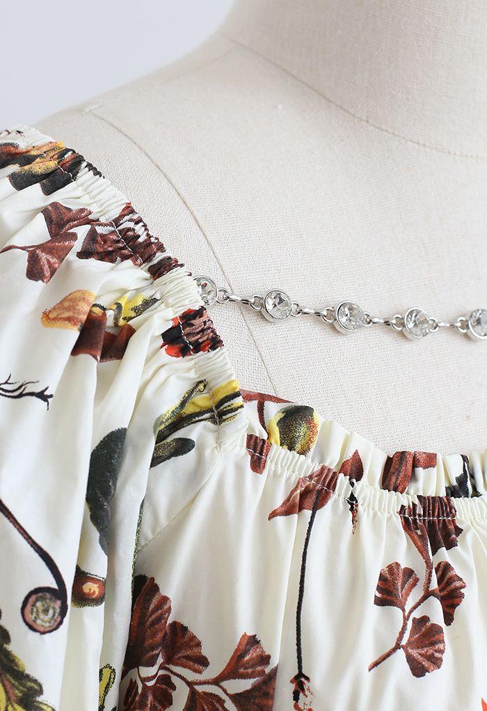 Botanic Print Chain Trim Crop Top in Cream
