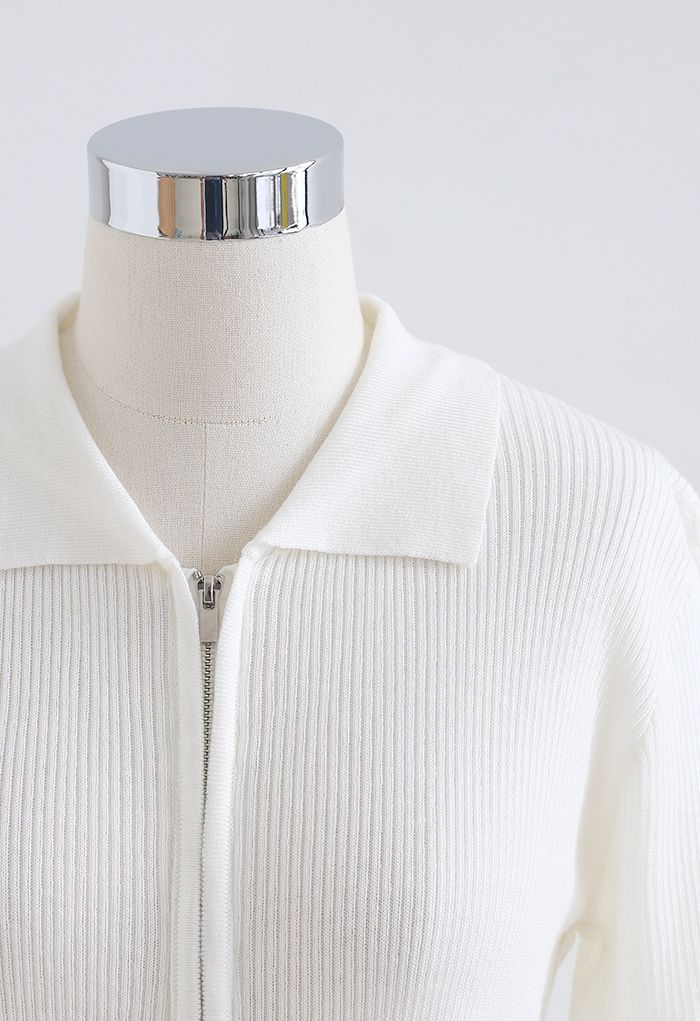 Double Zippers Short Sleeve Rib Knit Cardigan in White